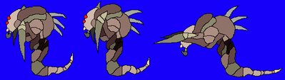 A Hound in the Idle state (left), first attacking sprite (middle), and second attacking sprite (right)